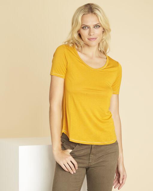 Tee-shirt jaune détails coutures dorées Glycel (1) - 1-2-3