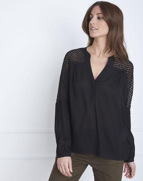 Zwarte blouse van kant Valy (2) - Maison 123