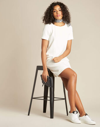 Robe blanche droite à zip amanda blanc.