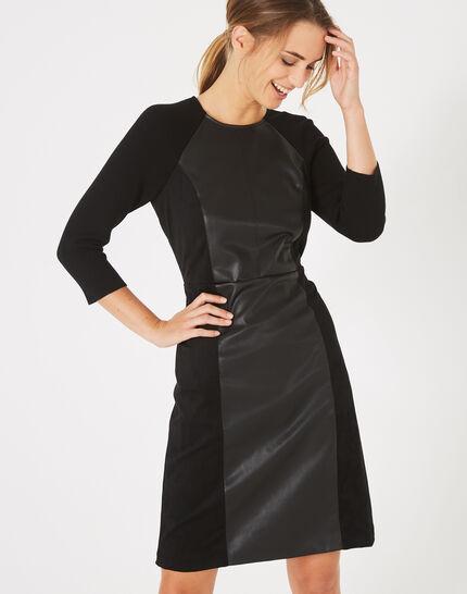 Angie straight-cut dual-fabric black dress (1) - 1-2-3