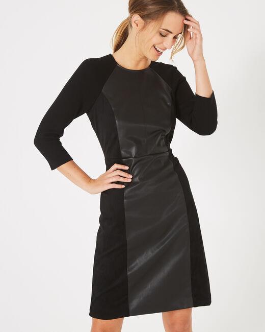 Robe noire bimatière coupe droite Angie (2) - 1-2-3