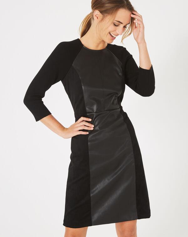 Robe noire bimatière coupe droite angie à