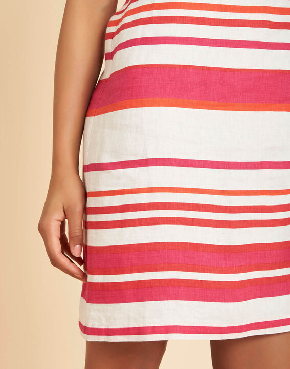 Berangere striped fuchsia linen dress PhotoZ | 1-2-3