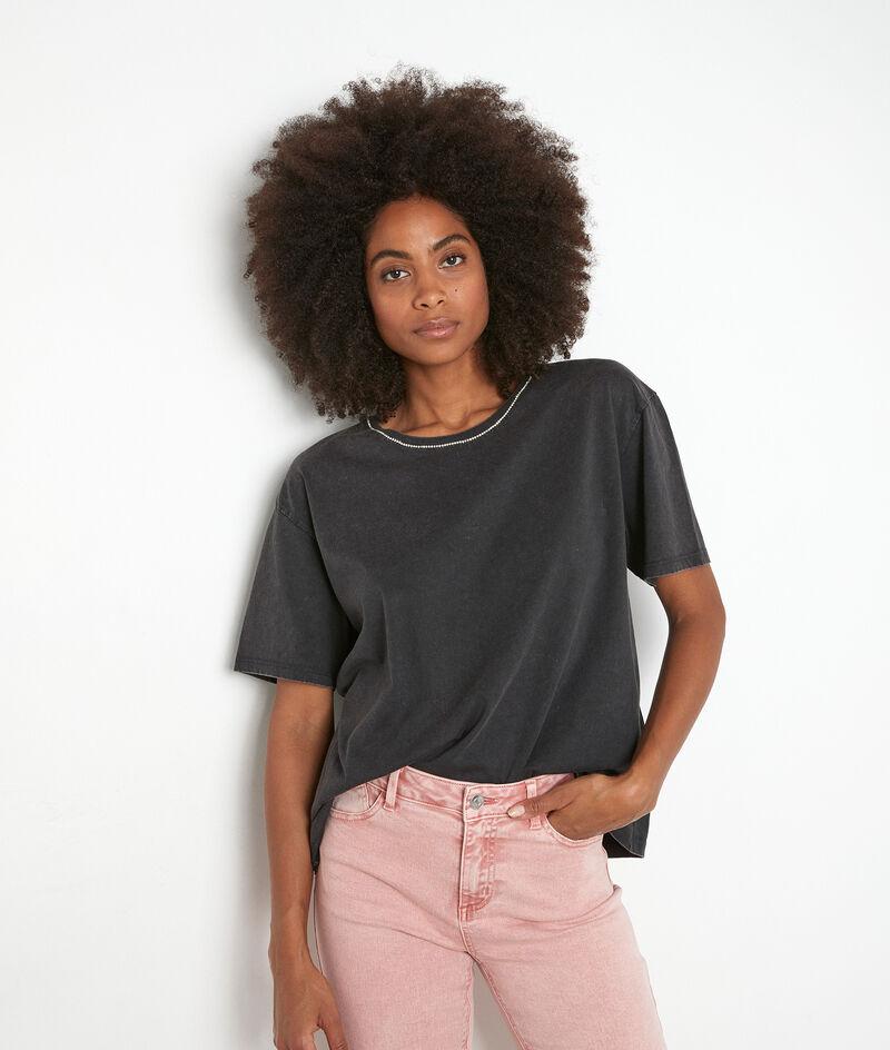 Tee-shirt en coton bio et col strassé anthracite Inox PhotoZ | 1-2-3