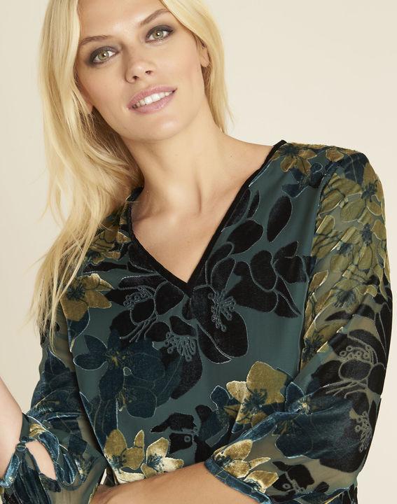Smaragdgrünes Kleid mit Ausbrennmuster und Blumenprint Noémie (2) - 1-2-3
