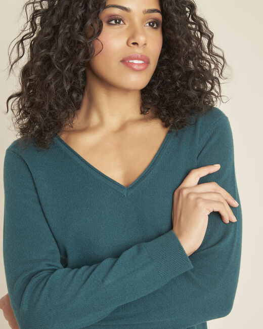 Pivoine forest green V-neck sweater in cashmere (2) - 1-2-3