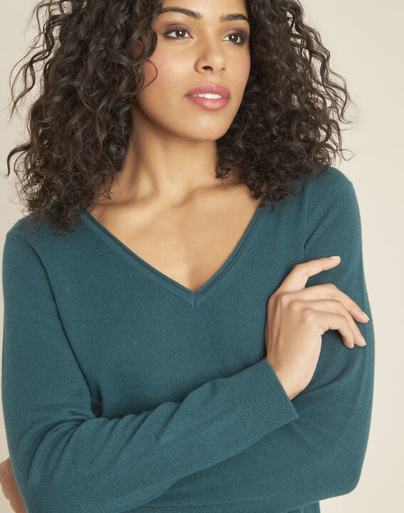 Pivoine forest green V-neck sweater in cashmere (3) - 1-2-3
