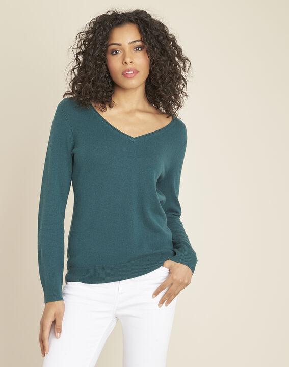 Pivoine forest green V-neck sweater in cashmere PhotoZ | 1-2-3
