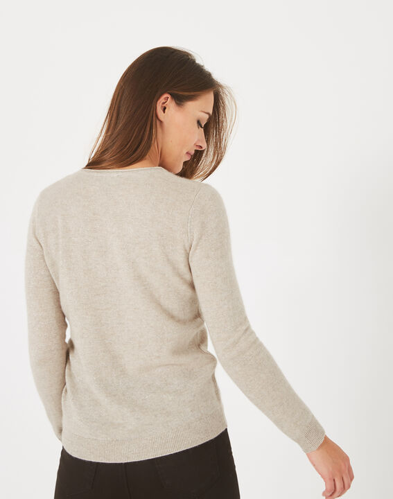 Paquerette beige cashmere sweater with V-neck (4) - 1-2-3