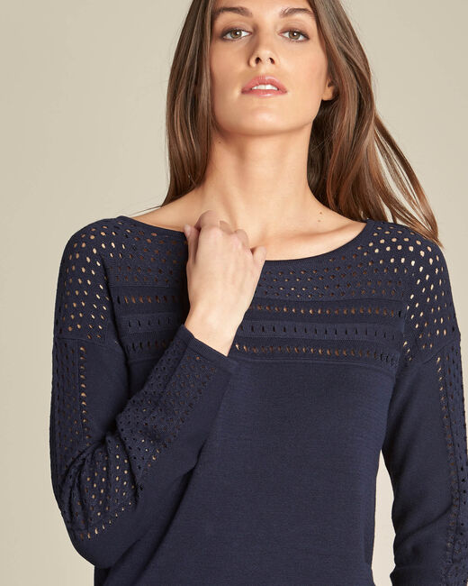 Nefle navy blue sweater with openwork neckline (2) - 1-2-3