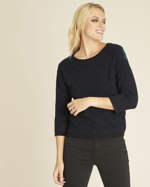 Bridge black check sweater with buttons on the shoulders (2) - 1-2-3