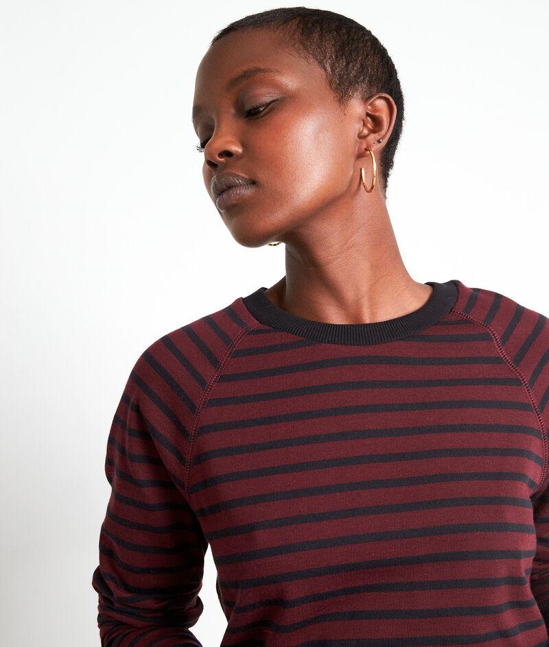 Tee-shirt à manches longues marinière bordeaux Eve PhotoZ | 1-2-3