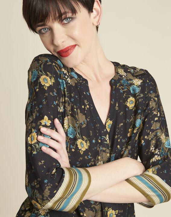 Schwarze Bluse mit Blumenprint Arletty (3) - 1-2-3