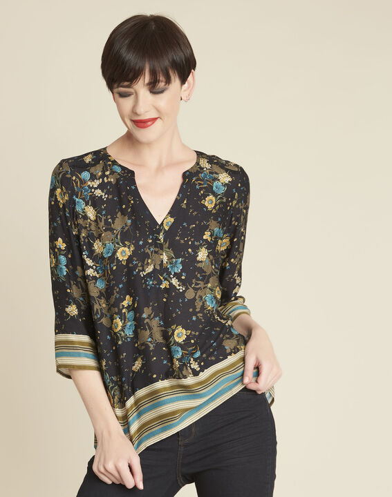 Zwarte blouse met bloemenprint Arletty PhotoZ | 1-2-3