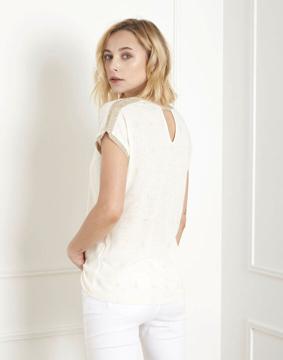 Ecrufarbenes T-Shirt mit Pfau im Lurexprint (4) - Maison 123