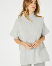Passiflore marl grey cashmere cape with polo neck light chine.