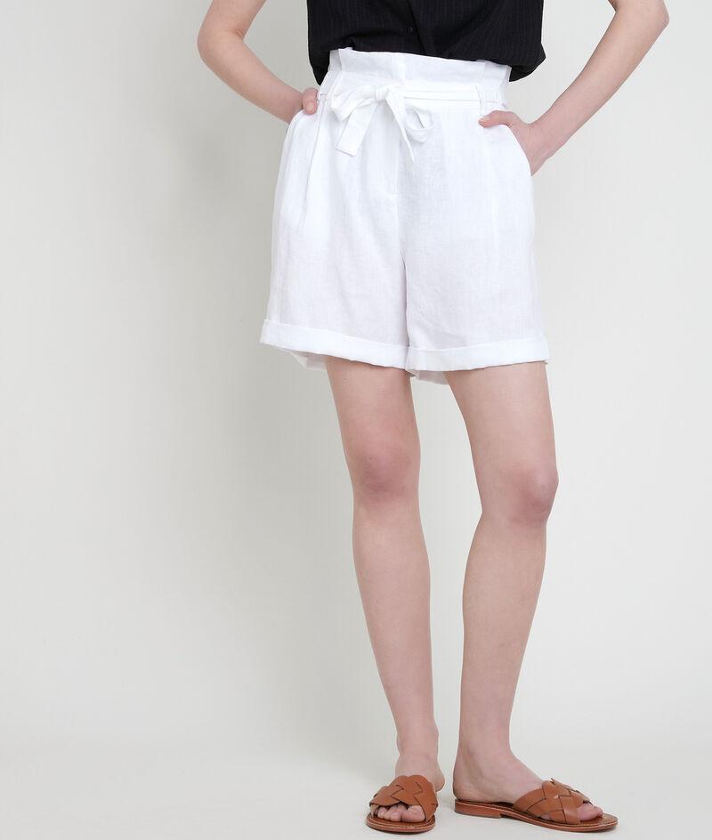 Shorts aus zertifiziertem Leinen weiß Fariel PhotoZ | 1-2-3