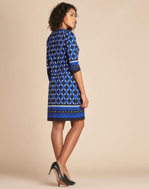 Blaues Kleid mit grafischem Print Delila (4) - 1-2-3
