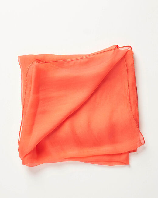 Foulard en soie corail roi uni Alice (2) - 1-2-3
