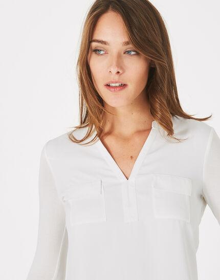 Ecrufarbenes T-Shirt im Materialmix Leden (3) - 1-2-3