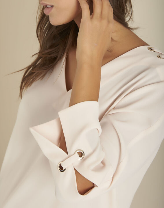Beige blouse met ringetjes Melody PhotoZ | 1-2-3
