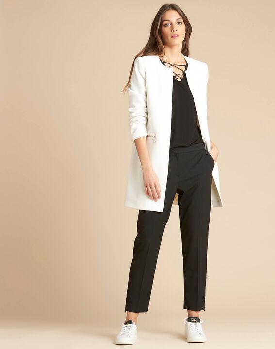 Manteau blanc droit 3/4 détails zips Kaya (2) - 1-2-3
