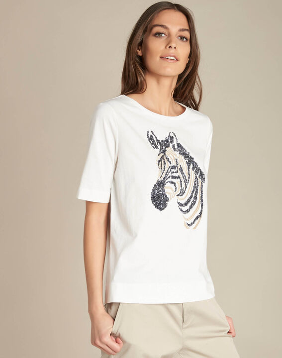 Energy ecru T-shirt with embroidered zebra pattern (3) - 1-2-3