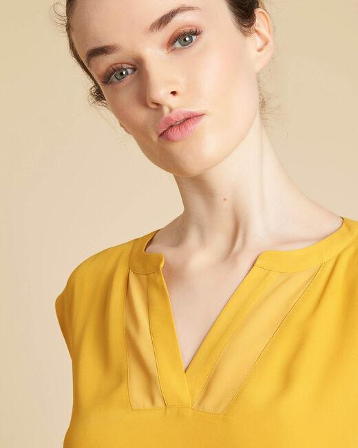 Tee-shirt jaune encolure résille Bianca (1) - 1-2-3