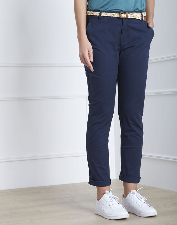 Pantalon marine chino ceinture fantaisie Francis (2) - Maison 123