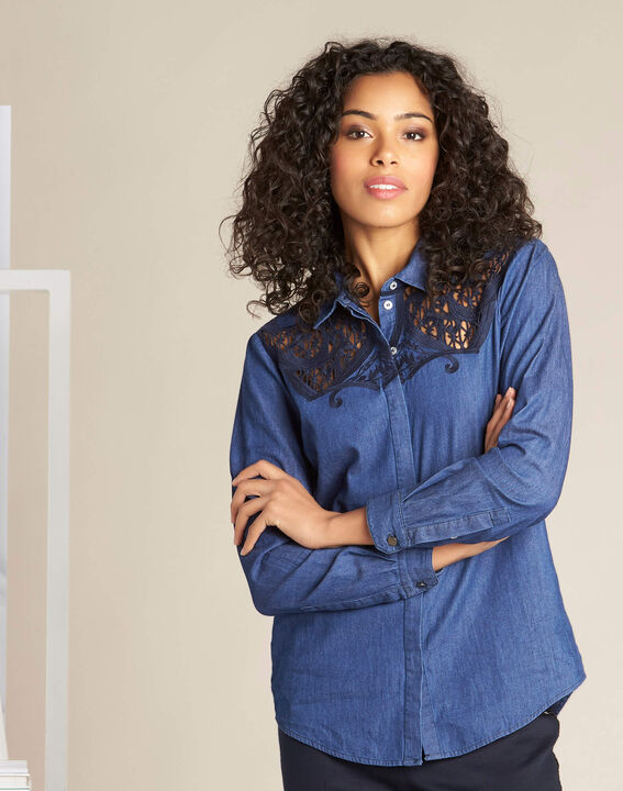 Garlene denim shirt with lace detailing (3) - 1-2-3