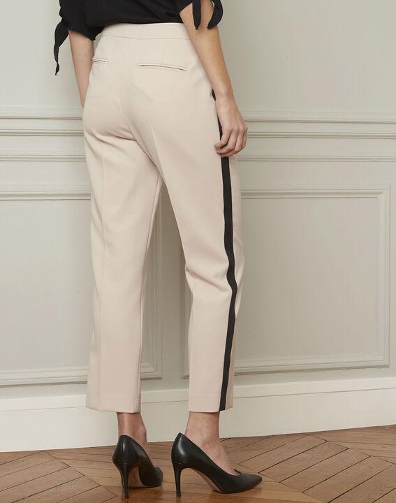 Pantalon crème bande noire microfibre Suzanne (3) - 1-2-3