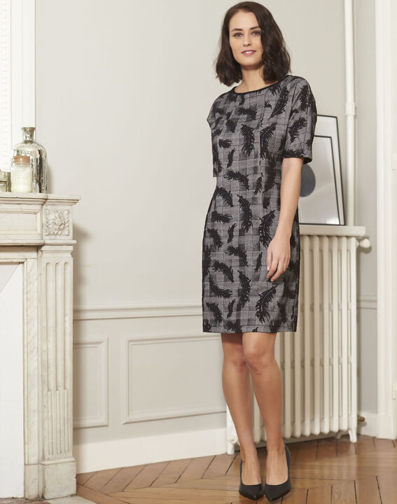 Destiny grey dress with feather print (2) - Maison 123