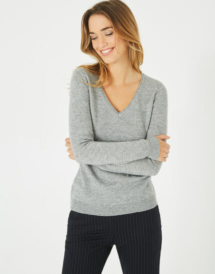 Paquerette grey cashmere sweater with V-neck (2) - 1-2-3