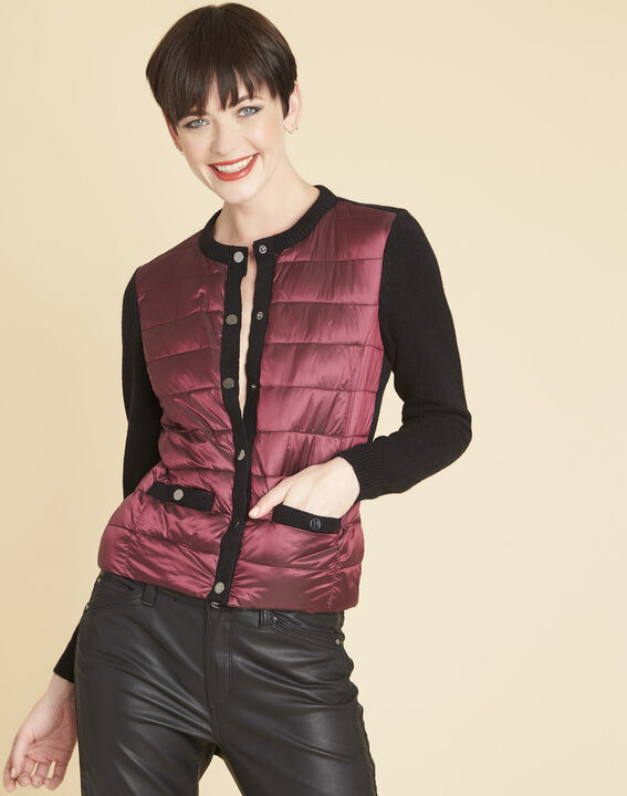 Snow red quilted dual-fabric jacket (1) - Maison 123