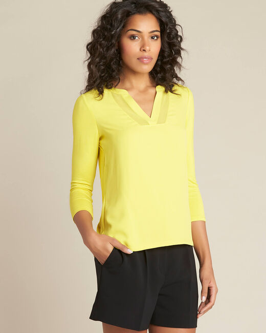 Anisgrünes T-Shirt im Materialmix mit Netzstreifen am Ausschnitt Bianca (2) - 1-2-3