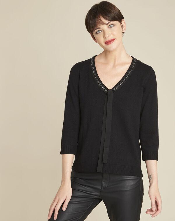 Zwarte trui met decoratieve halslijn van gemengd wol Beverly (1) - 37653