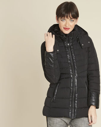 Phiby black faux leather down jacket black.