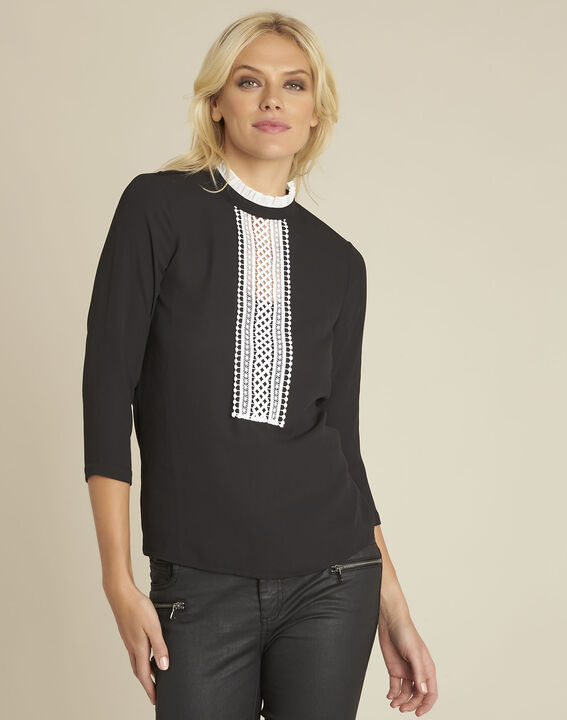Cunegonde black blouse with lace neckline  (1) - 1-2-3