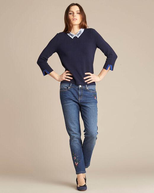 Noémie navy blue sweater with shirt collar (1) - 1-2-3