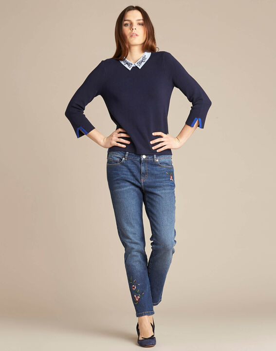 Noémie navy blue sweater with shirt collar (2) - 1-2-3
