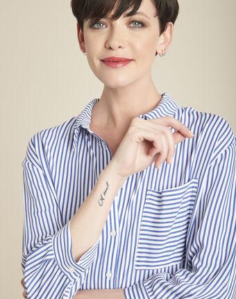 Darwin striped blouse in an oversized cut sky blue.