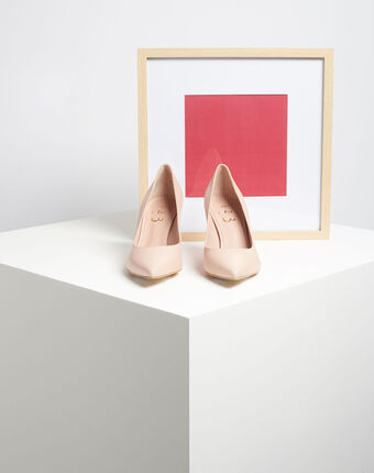 Kelly pale pink pointed-toe leather heels light pink.