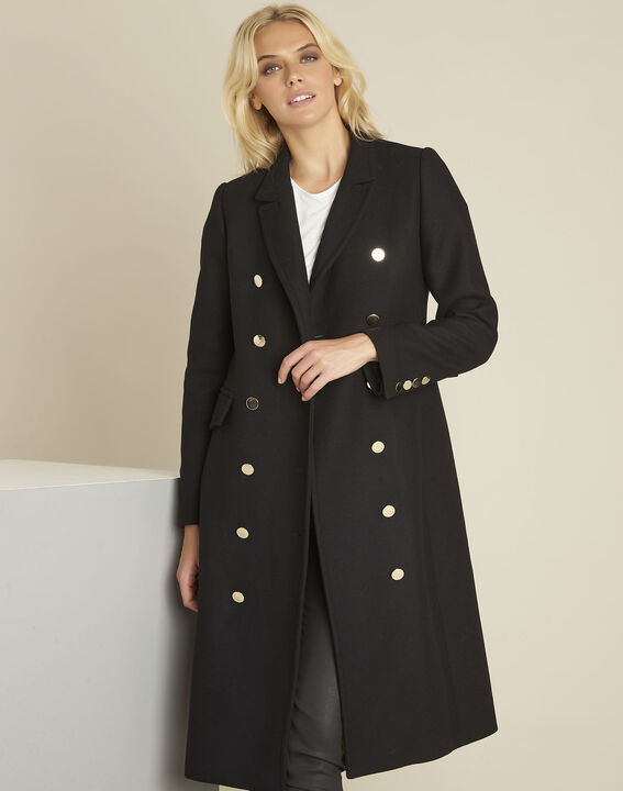 Manteau noir long officier Jeff (1) - 1-2-3