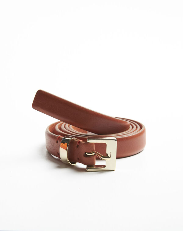 Quentin brown leather belt with a gold tone buckle (2) - 1-2-3