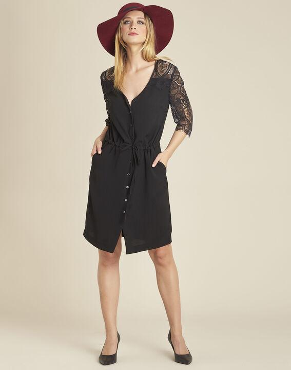 Zwarte jurk uit twee stoffen met mouwen van kant Dune (3) - 37653