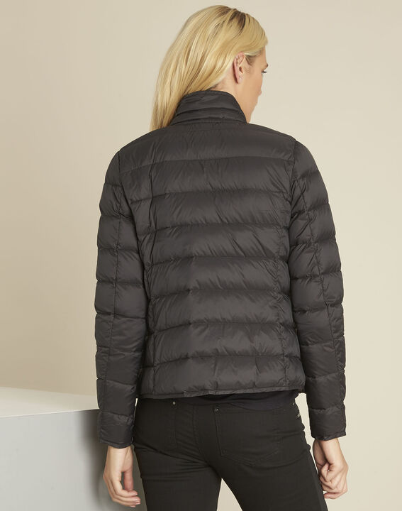 Penny short black down jacket with grey lining (4) - 1-2-3