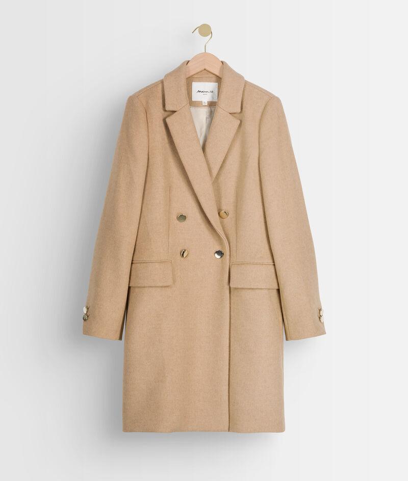 Manteau droit en laine recylée beige à boutons dorés Lorine PhotoZ   1-2-3