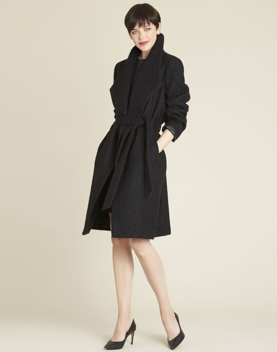 Eliane black boiled wool coat with shawl collar (2) - Maison 123