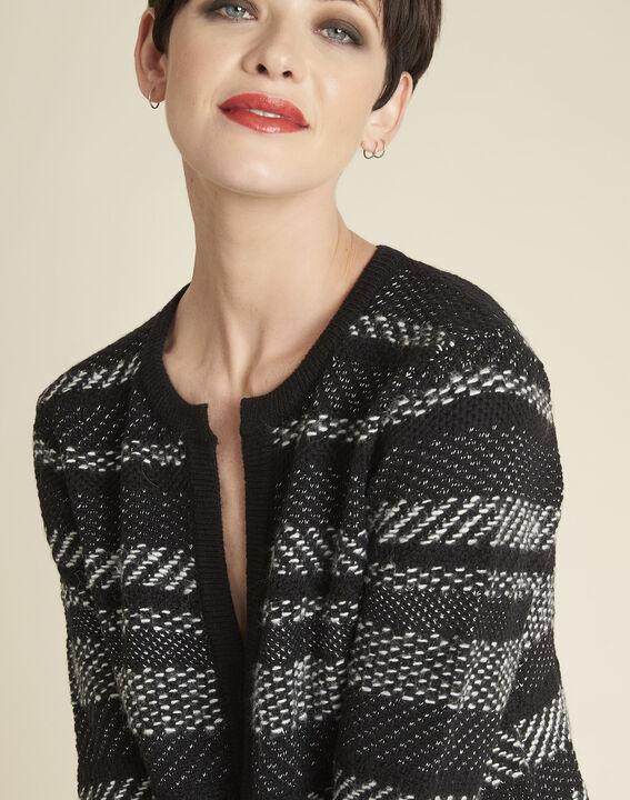 Beatrice black knit striped jacket (3) - 1-2-3