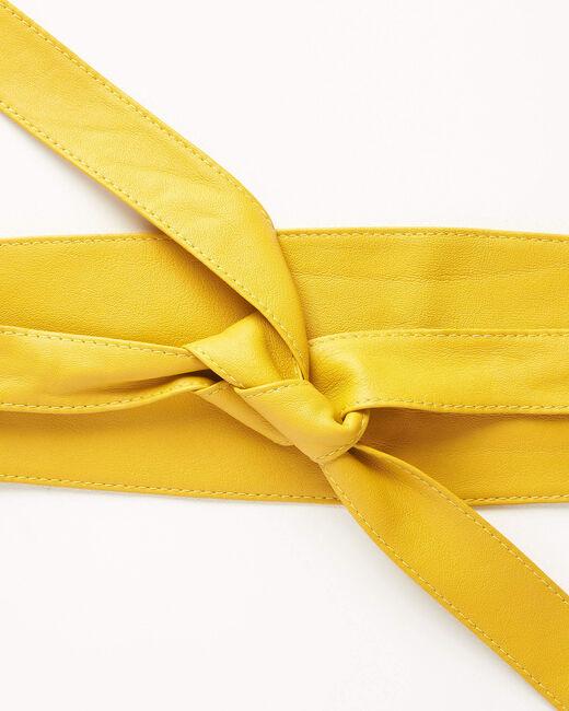 Ceinture large jaune en cuir à nouer Raul (1) - 1-2-3
